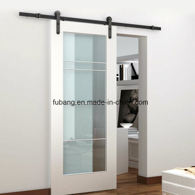 Sliding Barn Doors for Home with Black Classic Sliding Wall Mounted Hardwares