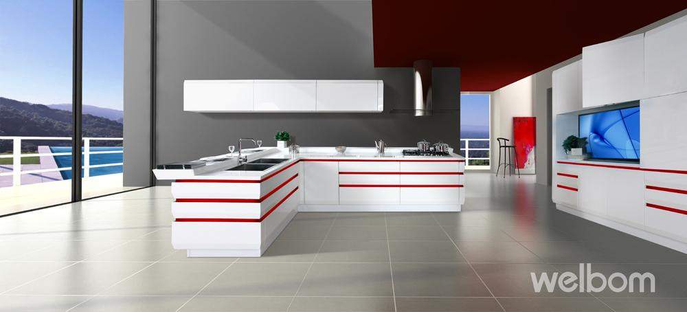 White Modern High Gloss Smart Kitchen Cabinet