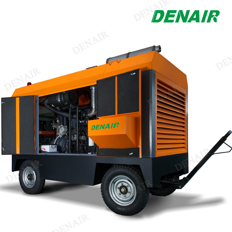 Mining Diesel Engine Portable Mobile Towable Rotary Screw Air Compressor