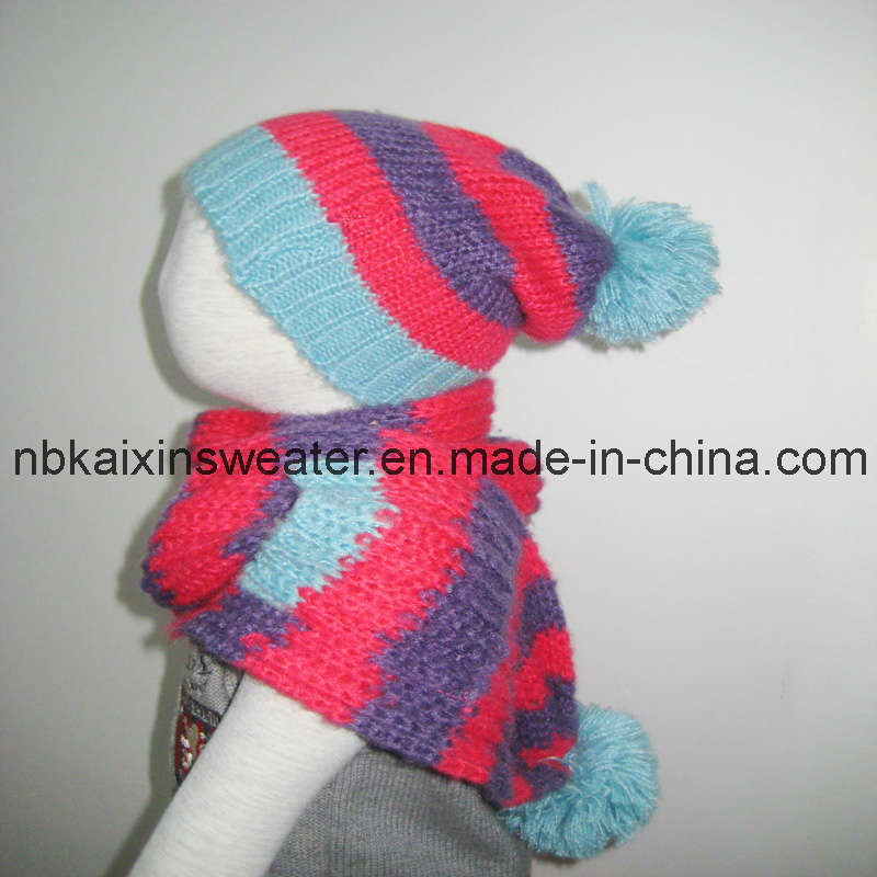 China Childrens Knitted Winter Fringe Hat and Scarf (KX-A34) - China Kni...