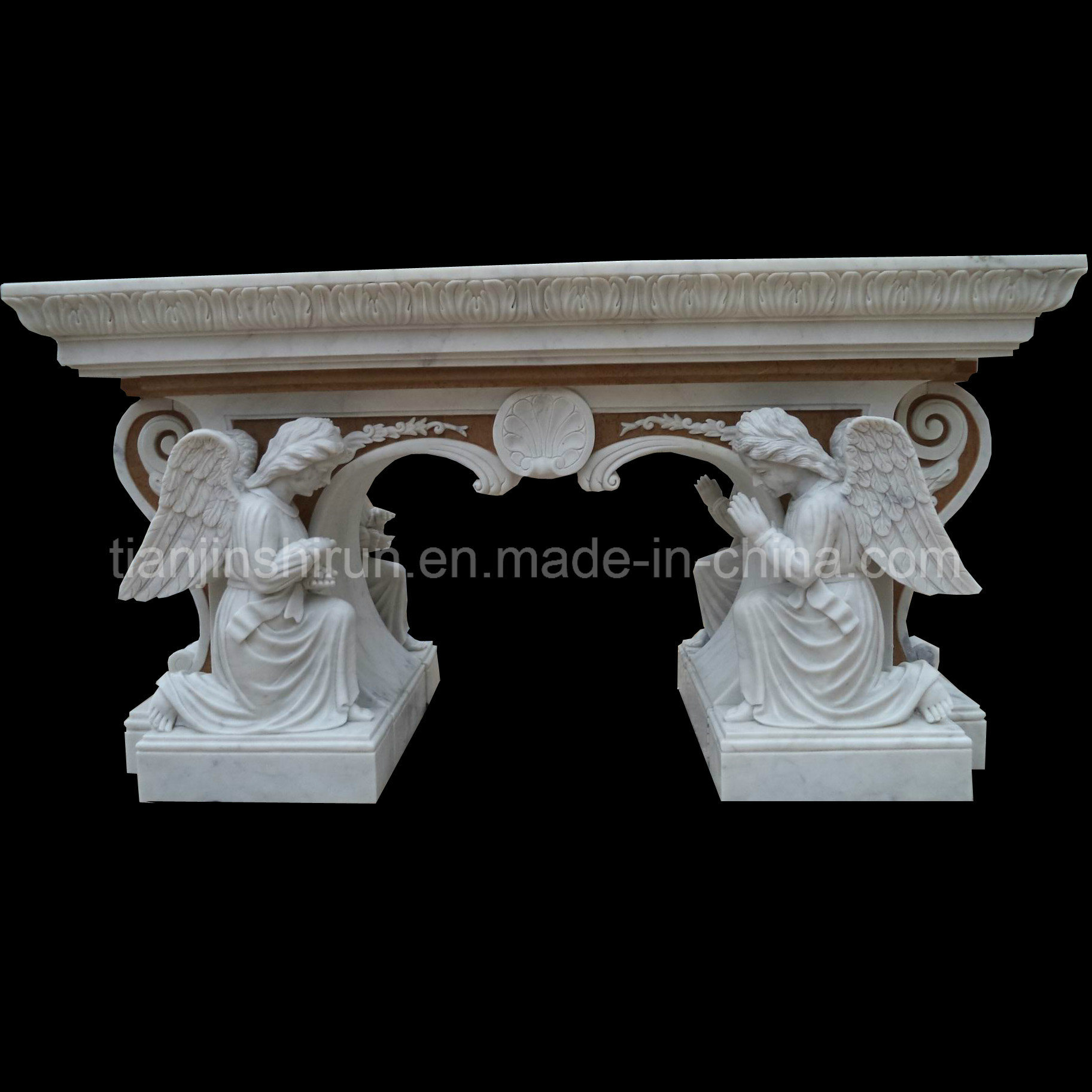 Angel Sculpture Two Sides Carving Altar Bnh355