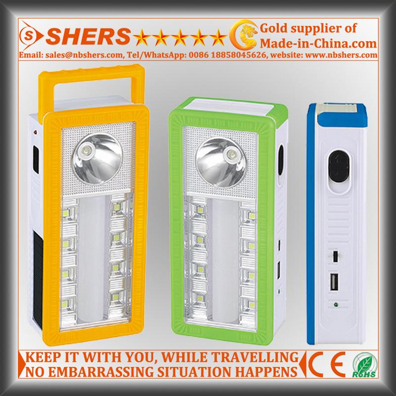 Portable Solar LED Emergency Light with 1W Flashlight, USB (SH-1904A)