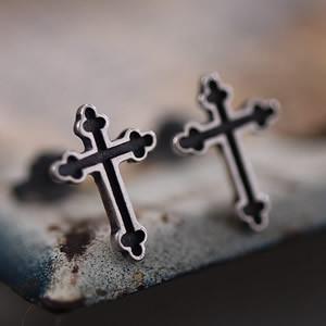 925 Sterling Silver Cross Earrings Stud No Piercing Fashion Jewellery