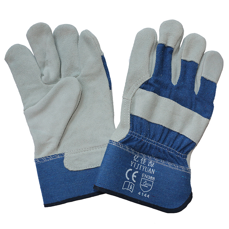 Cow Split Leather Anti-Scratch Safety Protective Work Gloves with En 388