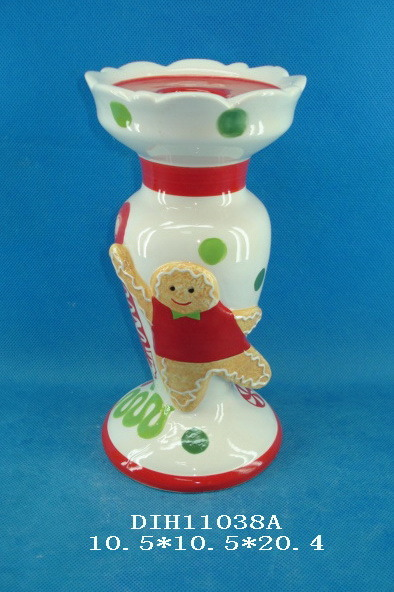 Hand-Painted Ceramic Candle Holder with Gingerbread Man