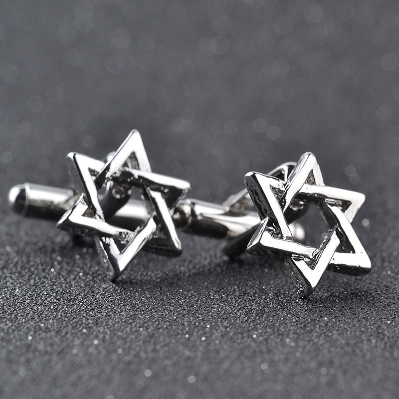 New Silver Zinc Alloy Star of David Men′s Cuff Links Business Gift Cufflinks