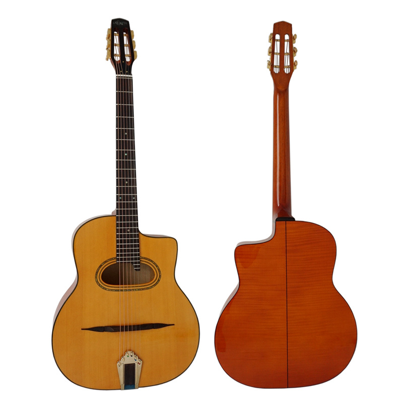 Aiersi Grande Bouche Gypsy Jazz Guitar with Flame Maple