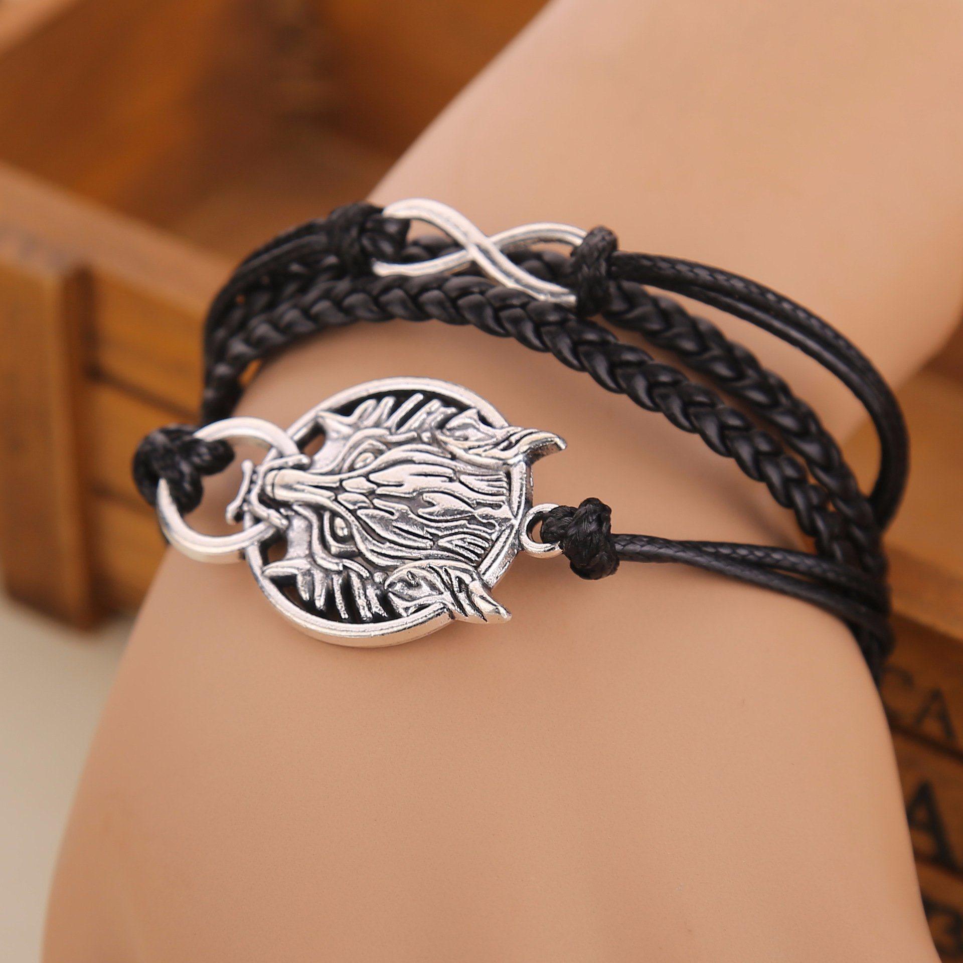 Imitation Jewelry-Black Braided Leather Rope Zinc Alloy Wolf Head Infinity Knot Bracelet for Men