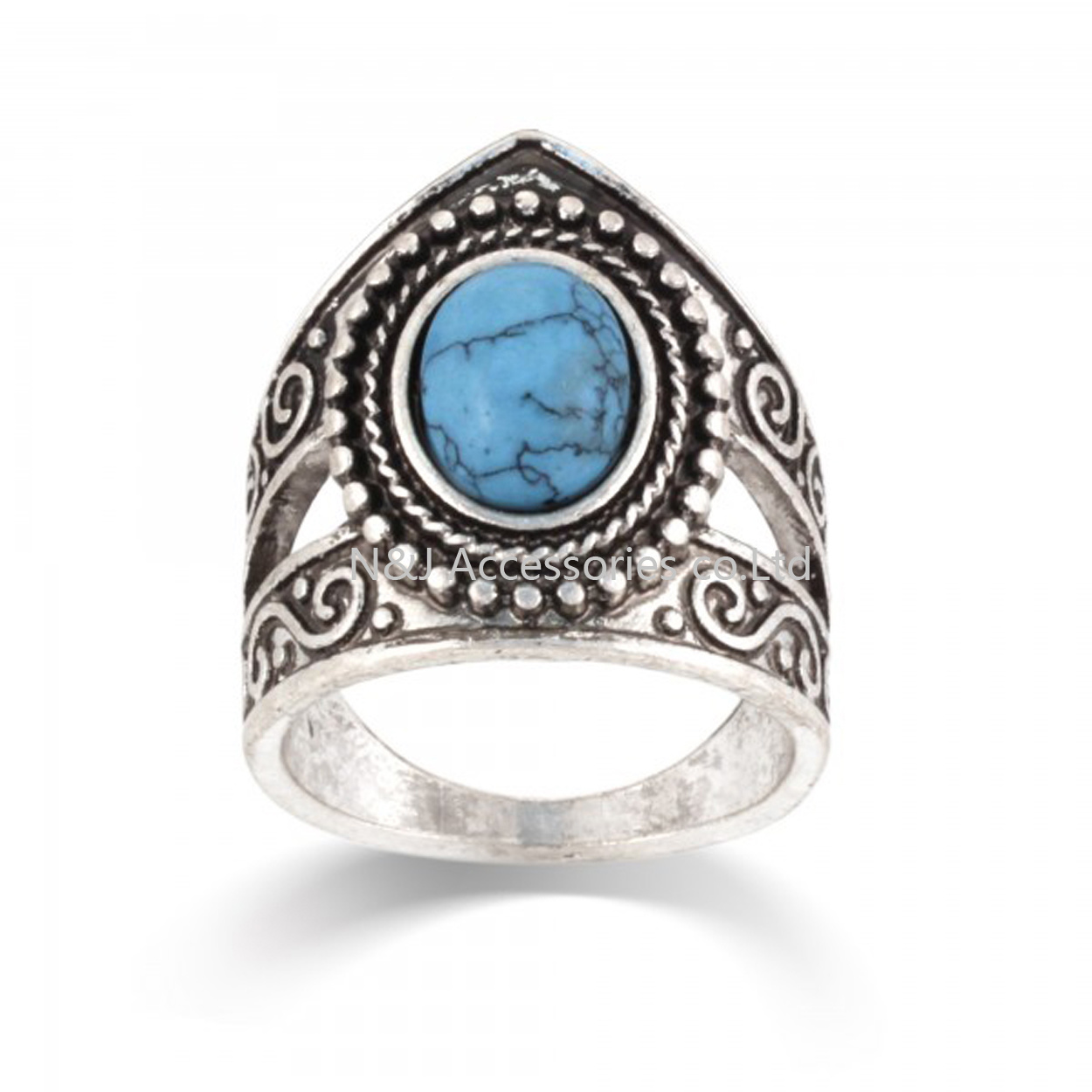 Tibetan Silver Inlay Synthetic Turquoise Stone Ring Nepal Original Antiqued Ring Wholesale Tibet Rings