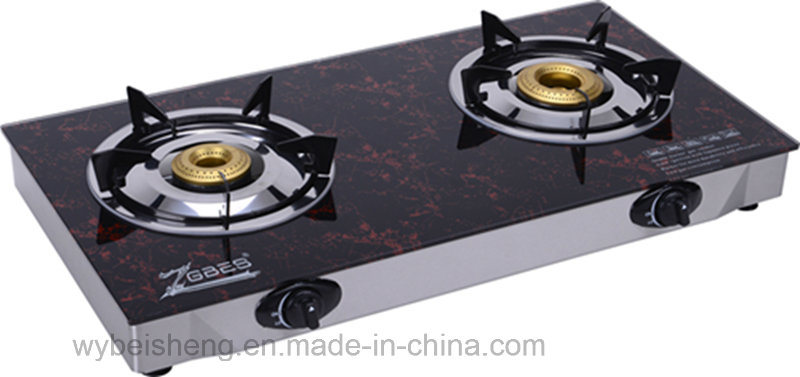 Deaktop Gas Stove, Double Burner, Glass Material