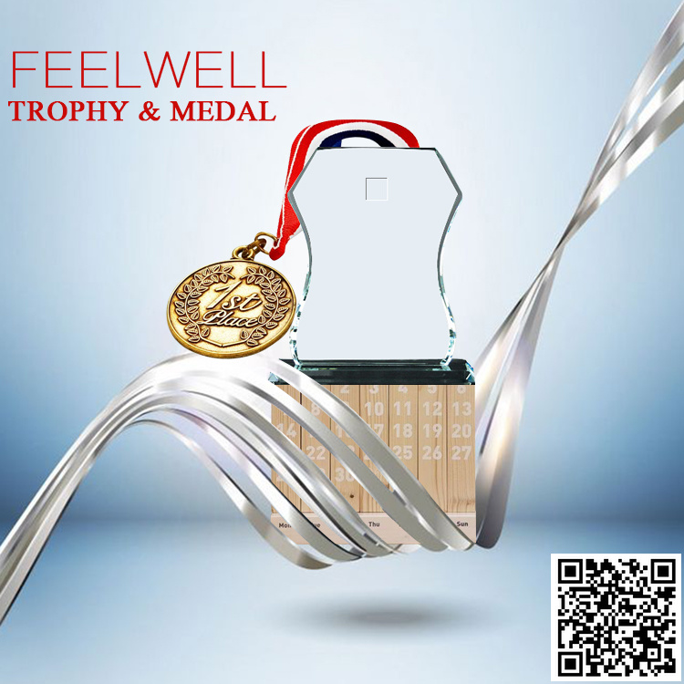Feelwell Clear Glass Trophy with Scan 2017 Medal Catalog