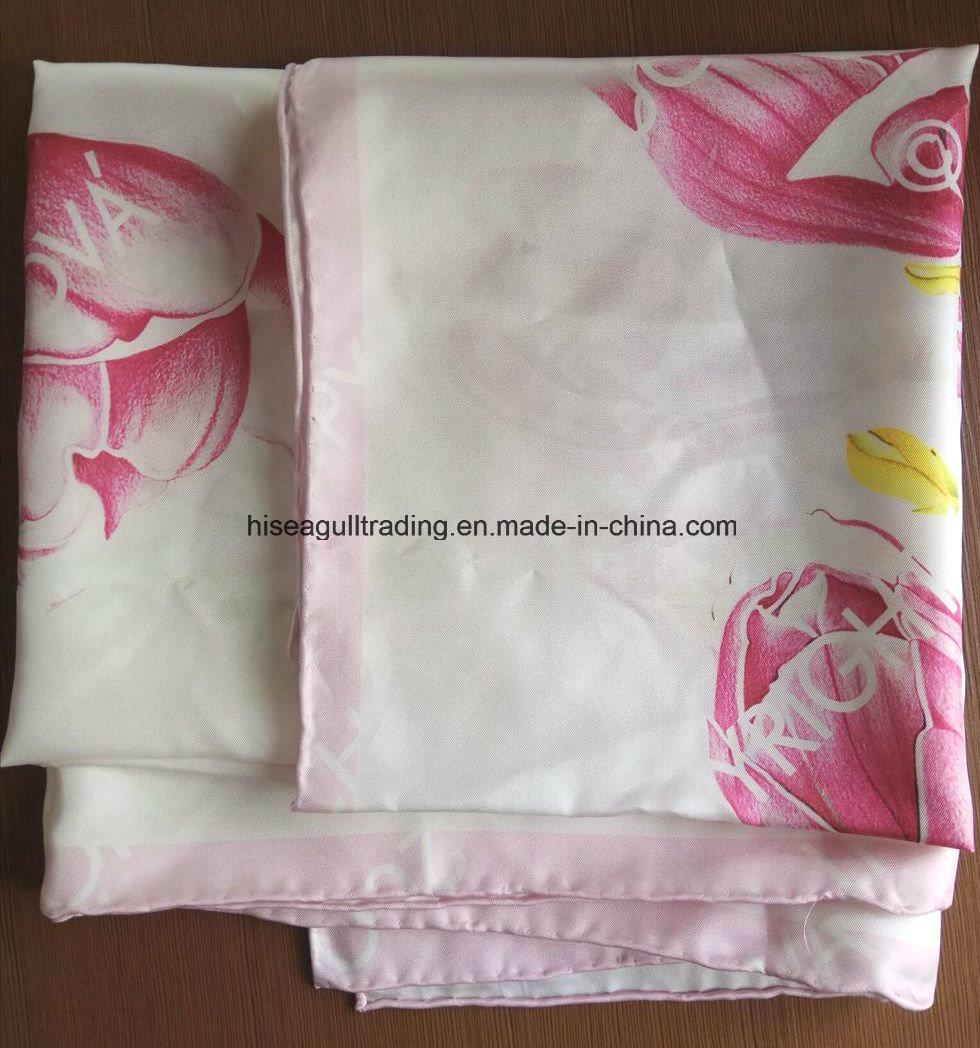 Hand Sewing Digital Print Silk Scarf Made of 14mm Silk Twill Fabric