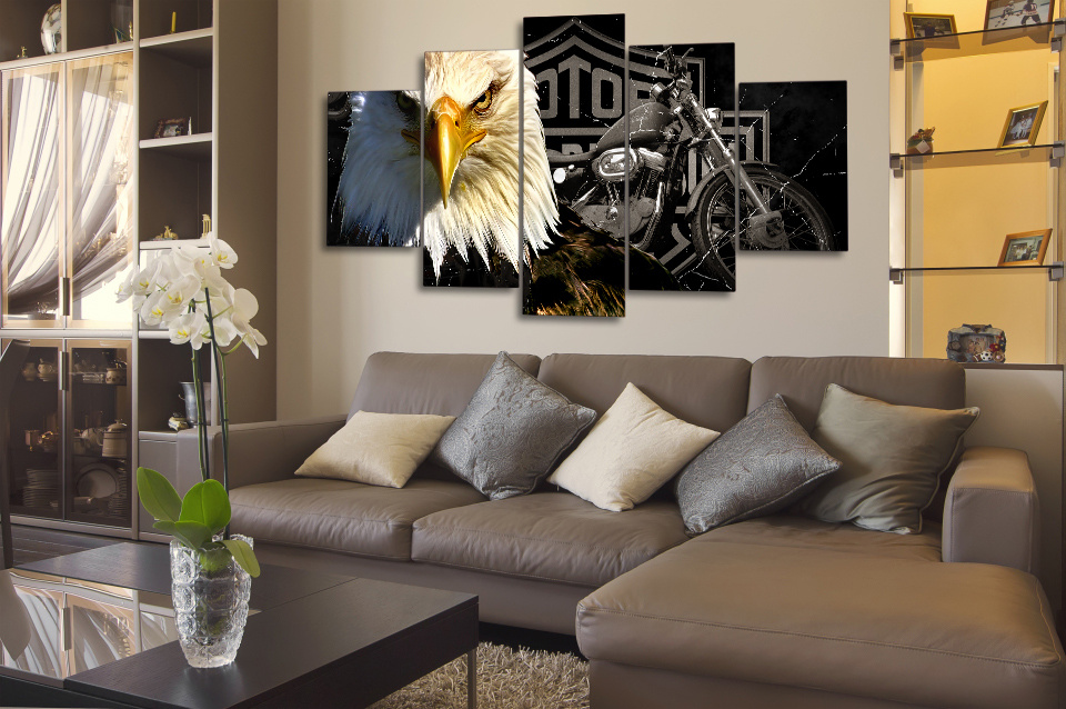 HD Printed Eagles Motorcycle Painting Canvas Print Room Decor Print Poster Picture Canvas Mc-007