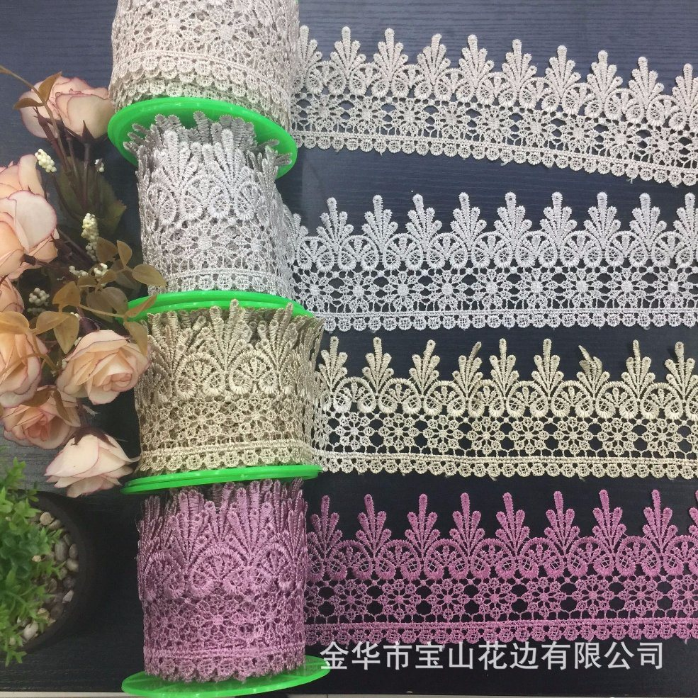 Hot Sale Stock New Design 8.5cm Width Embroidery Water Soluable Lace Terylene/Polyester Lace for Garments /Home Textiles/ Curtains