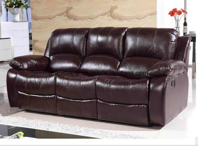 Classic and Traditional Living Room Set Real Leather Recliner Upholstered Sofa