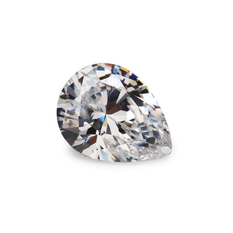 White Cubic Zirkonia Pear Shape Cubic Zirconia Gemstone