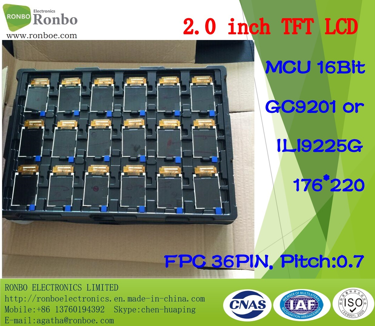 2.0 Inch 176*220 MCU 16bit 36pin TFT LCD Panel, Option Touch Screen