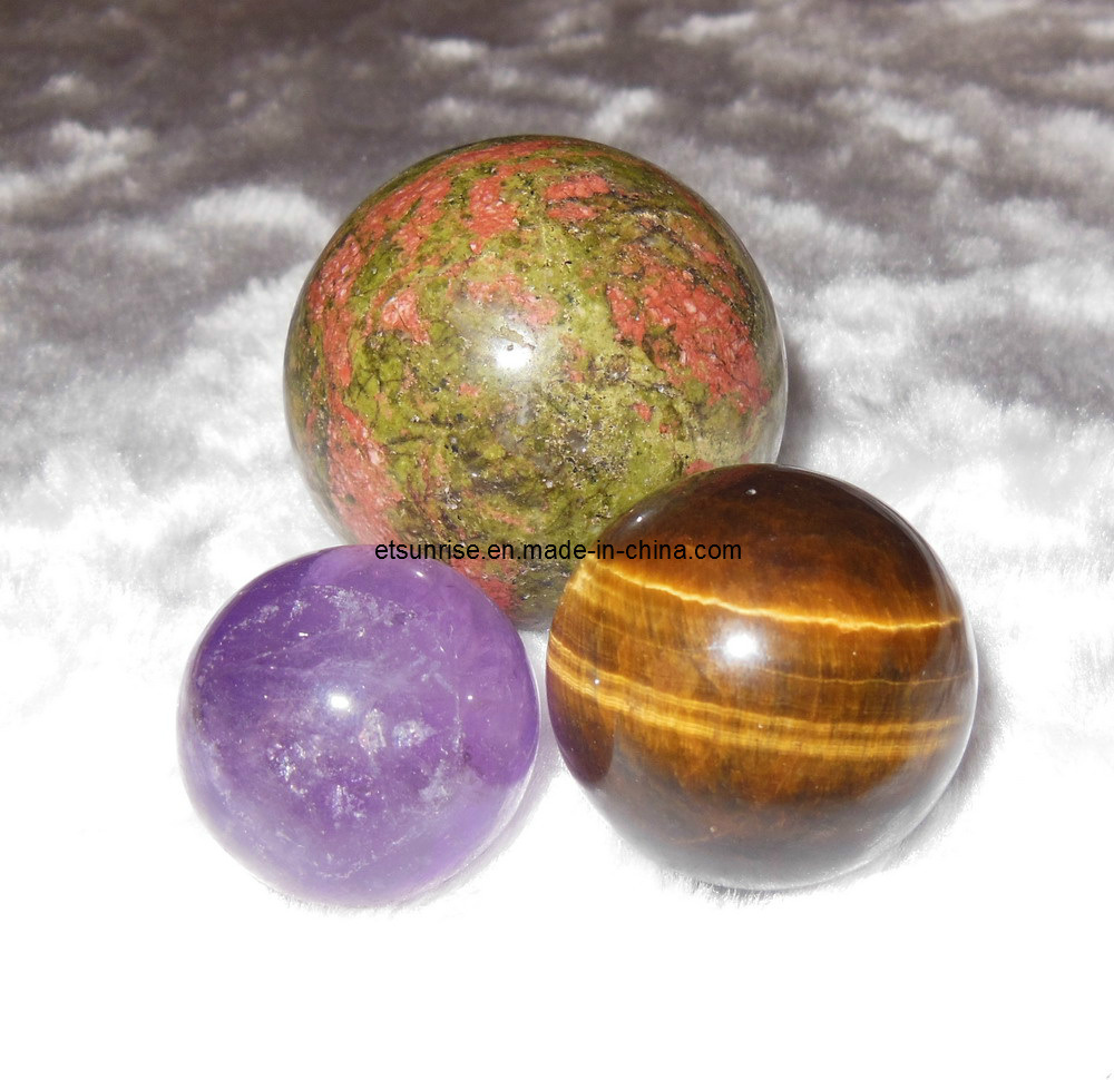 Semi Precious Stone Crystal Sphere Ball Ornament Crafts Gift