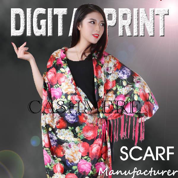 Custom High Quality Digital Printing Cashmere Scarf