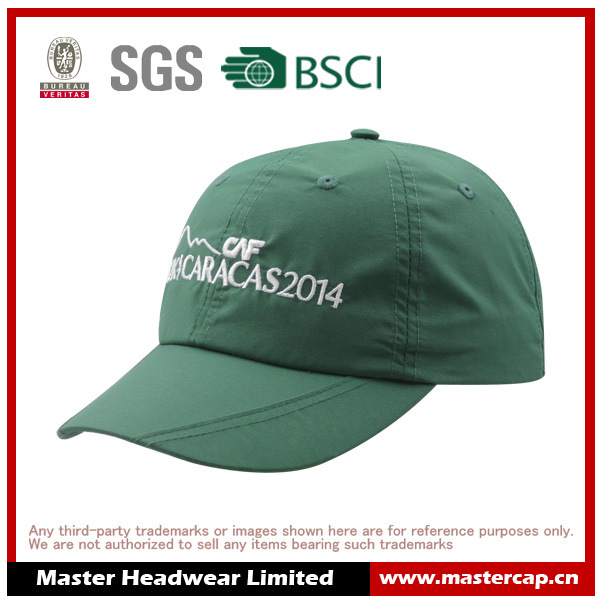 Green Color Nylon Fabric Soft Panel Sports Cap