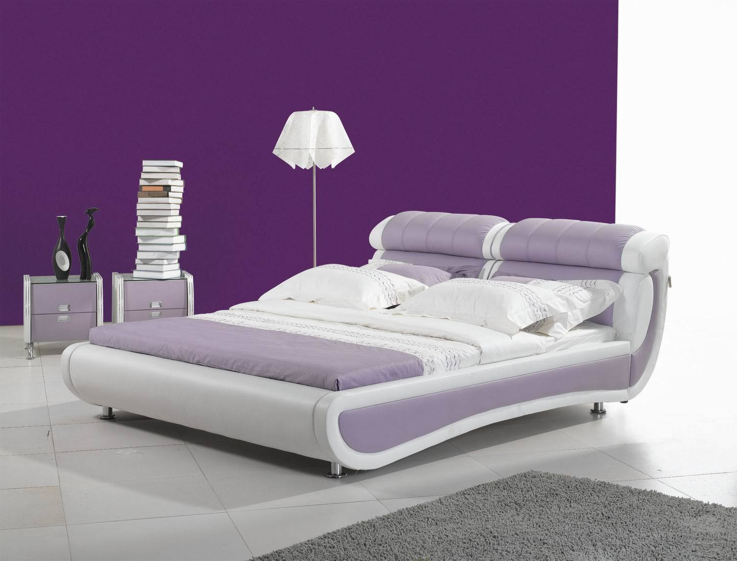 China bed bedroom furniture leather bed m009 china for Bedroom furniture with mattress