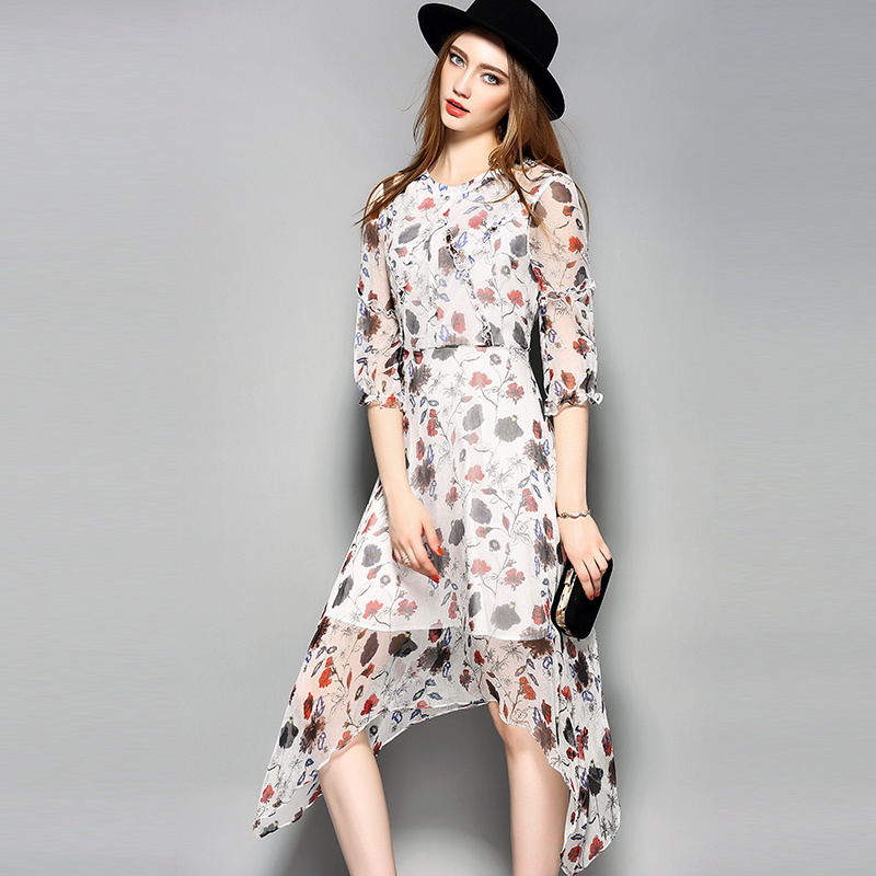 Irregular Hem Elastic Puff Floral Elegant Women Ladies Dress with Ruffle Front Fly