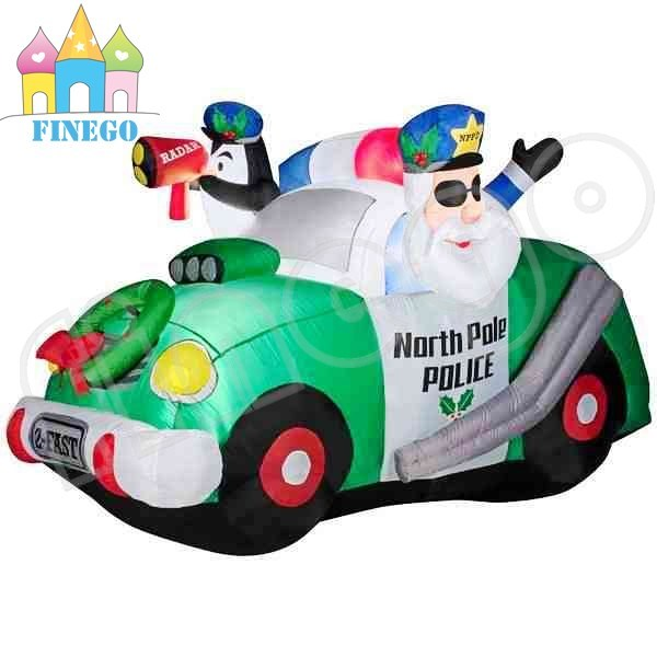 Santa North Police Car Christmas Inflatables