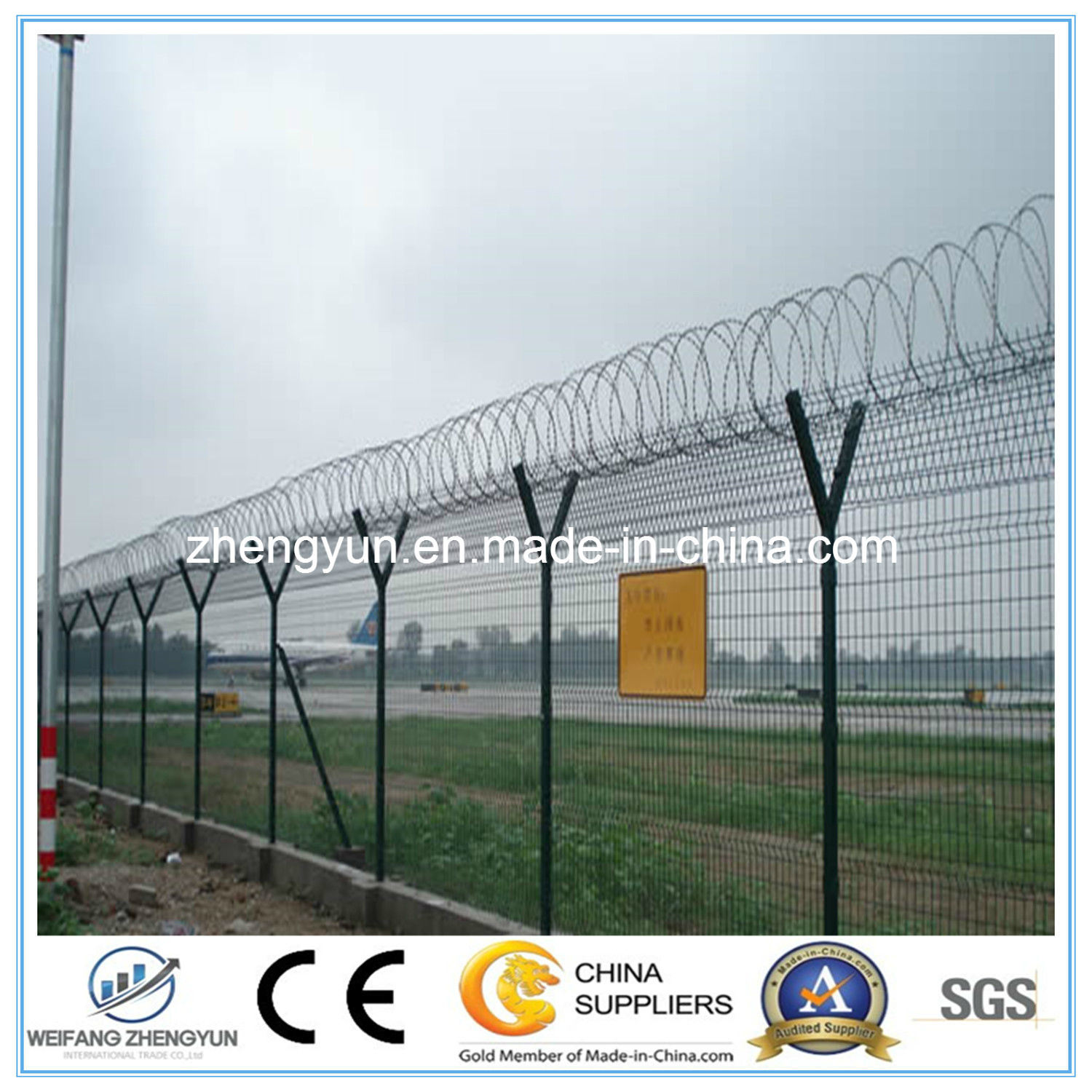Y Post PVC Coated Airport Fence with Razor Barbed Wire