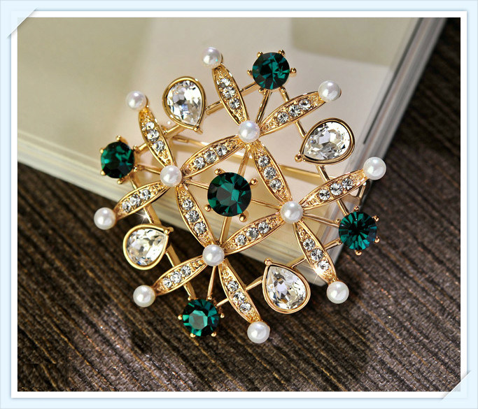 New Design Glass Pearl Stones Fashion Jewellery Brooch