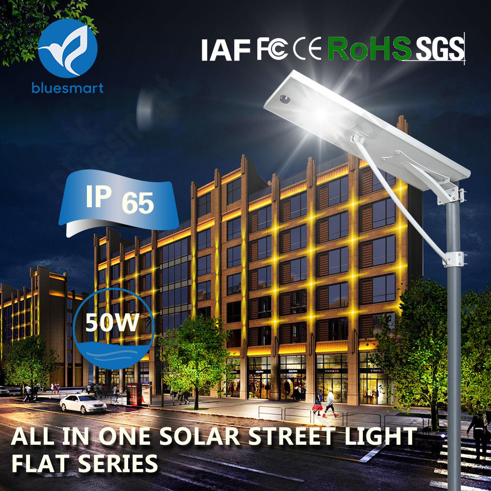 50W Outdoor Soalr Lighting Lamp All in One Solar LED Street Garden Light with 5 Yrs Warranty