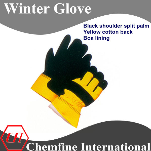 Black Shoulder Split Palm, Yellow Cotton Back, Boa Lining Leather Winter Glove