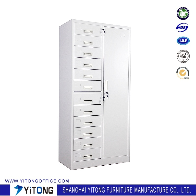 1-Door 12-Drawer Metal Storage Cabinet / Office Use Steel File Cabinet