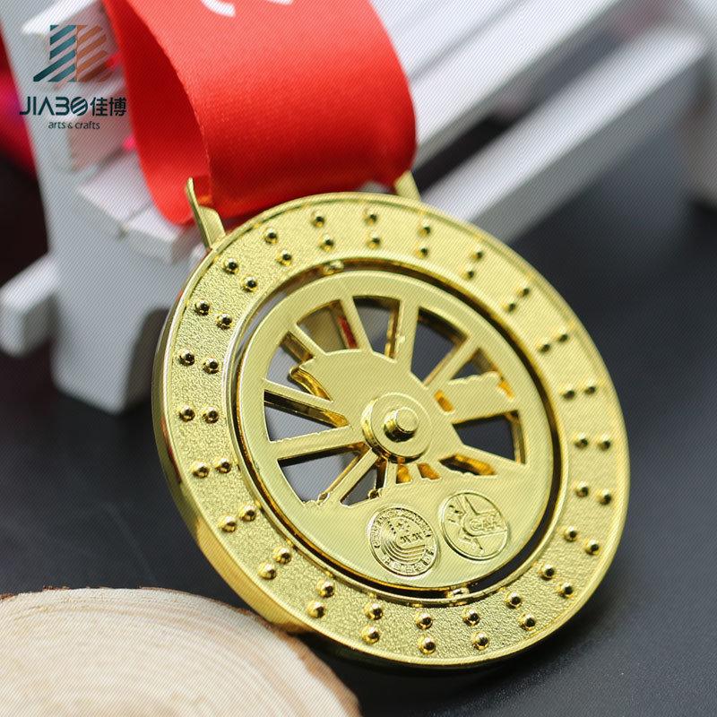 Die Casting Gold Cut out Spin Zinc Alloy Metal Custom Enamel Medal (JIABO-JP1670)