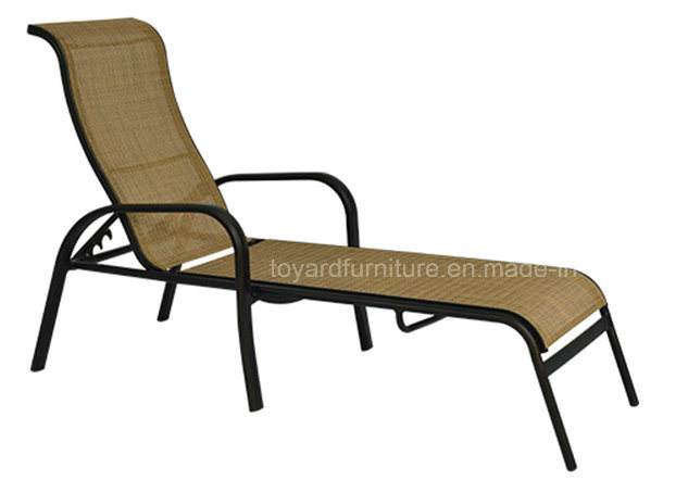 Hotel Outdoor Pool Furniture Panama Jack Island Breeze Stackable Sling Chaise Lounge, Espresso Finish
