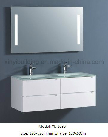 Sanitary Ware Double Glass Wash Basin Vanity with Mirror
