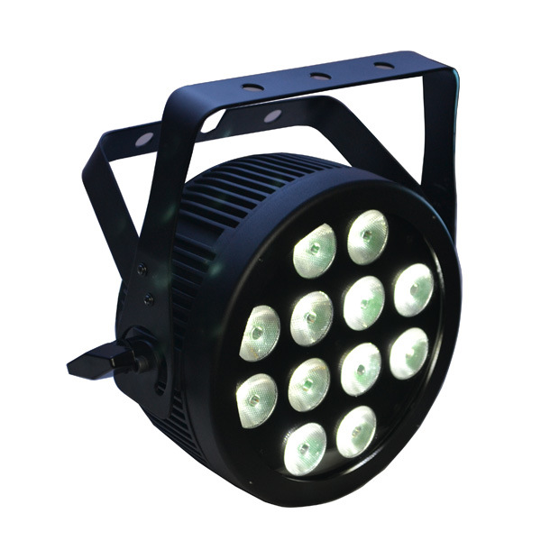 12X12W RGBWA UV 6 in 1 LED PAR Can Stage Light with Die Cast Aluminum Slim Housing and Powercon for Disco, Party, DJ, Nightclub Lighting