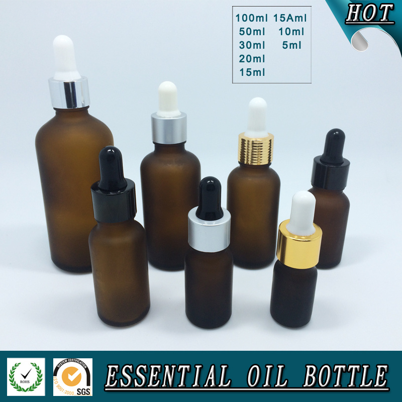 Brown Frosted Essential Oil Glass Bottle
