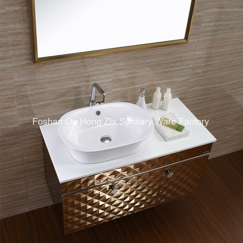 Customized Luxury Bathroom Vanity Bathroom Cabinet with Golden Colour