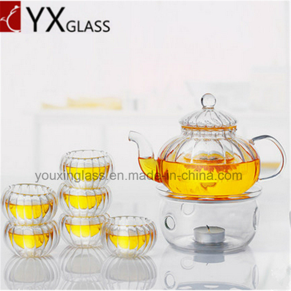 Borosilicate Glass Tea Pot with Glass Filter/Blooming Tea Pot Coffee Tea Set Pumpkin Teapot/Water Carafe 600ml