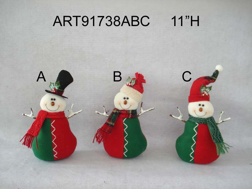 "11""H Floral Santa and Snowman Christmas Home Decoration with Twig Arms, 3 Asst"