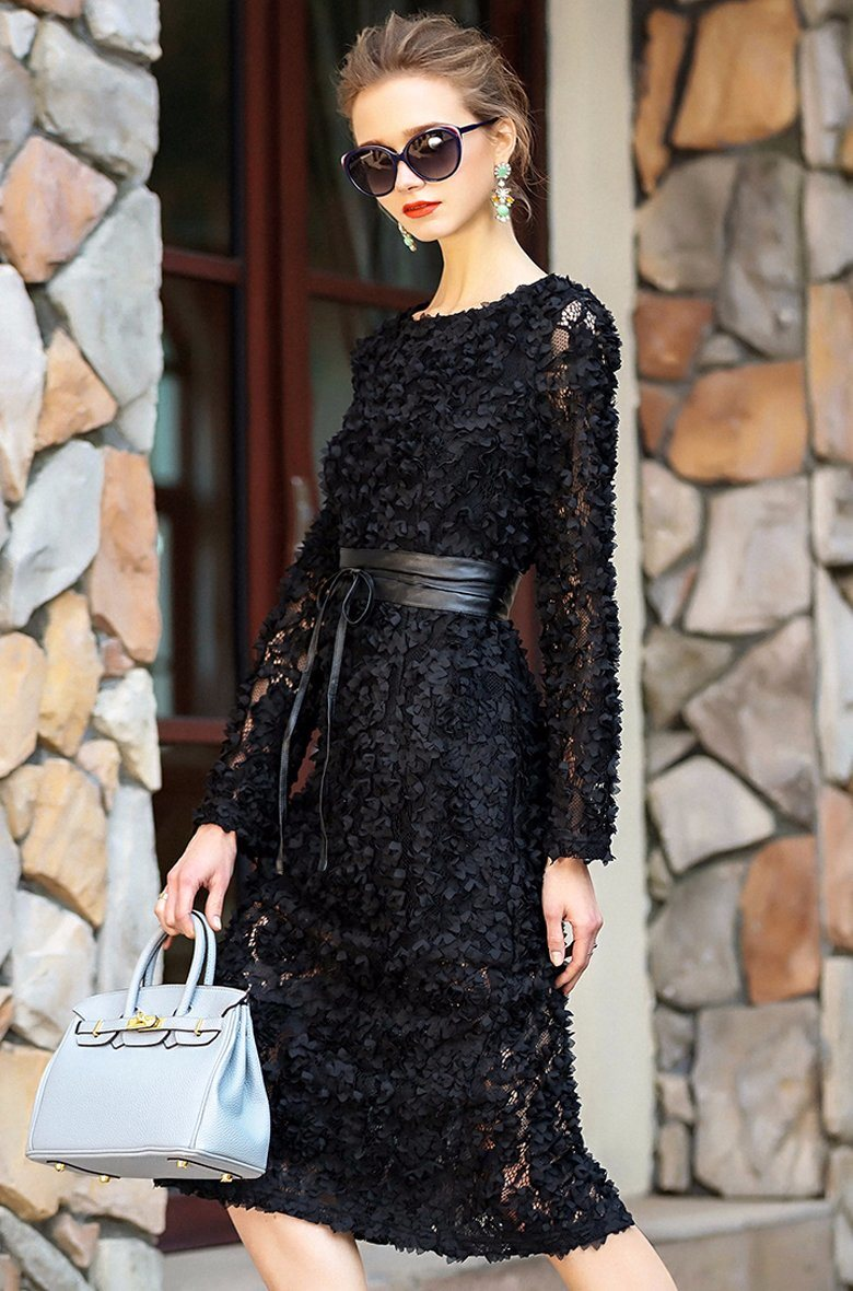 Haute Douture Women′s Sweet Wind Black Three-Dimensional Flowers Cultivate Sexy Lace Dress