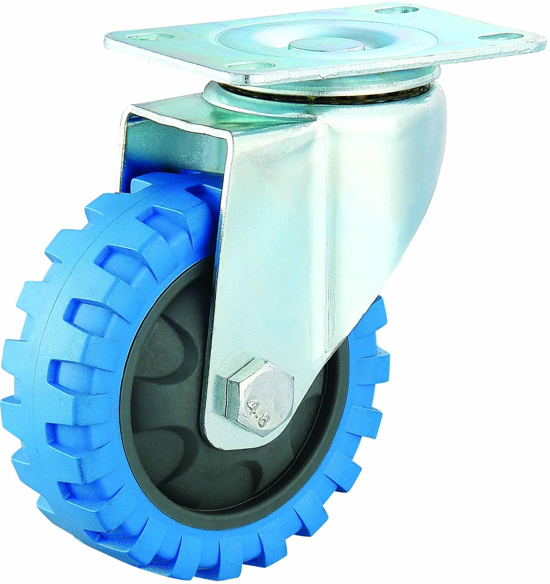 3/4/5 Inch Medium Duty PU Caster Blue Tyre Veins Fixed Castor Wheel