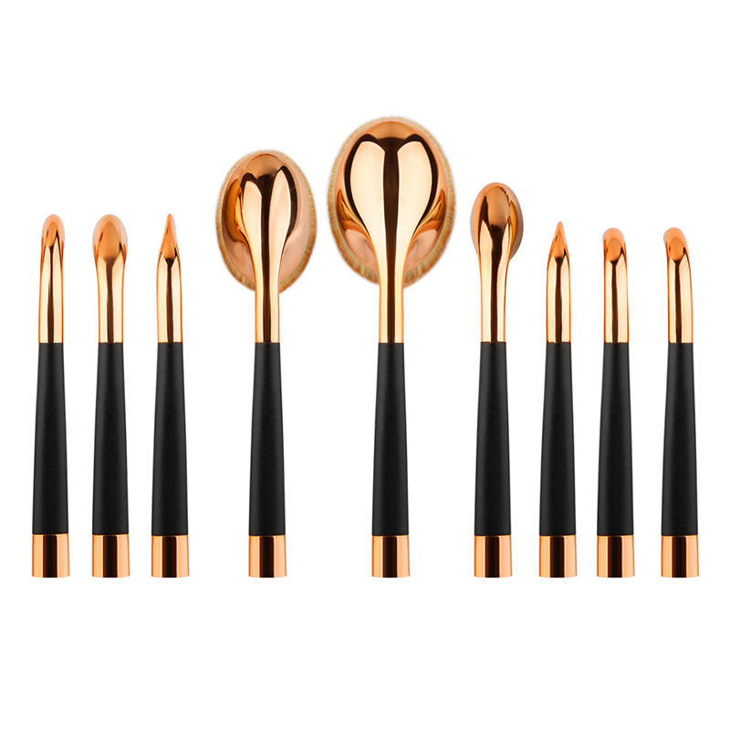 Rose Golden Color Tooth Brush Shape Oval Makeup Brush Multipurpose Professional Foundation Powder Brush Kits