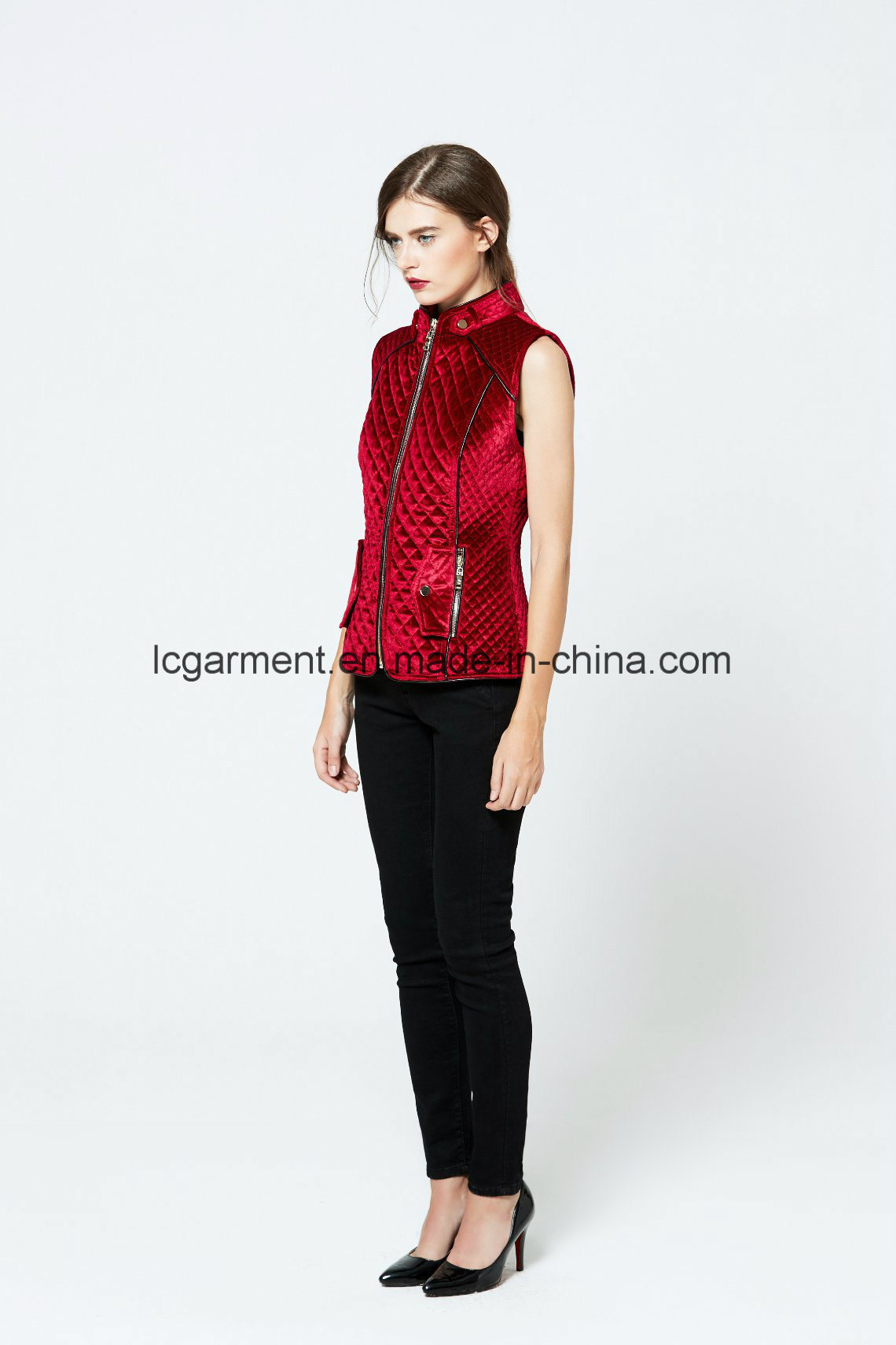 Hot Sale Fashion Faux Suede Red Leather Vest Zipper Woman Waistcoat