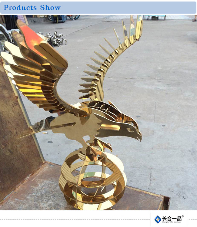 Golden 8k Mirror Eagle Stainless Steel Decoration Handicrafts for Display/Exhibition