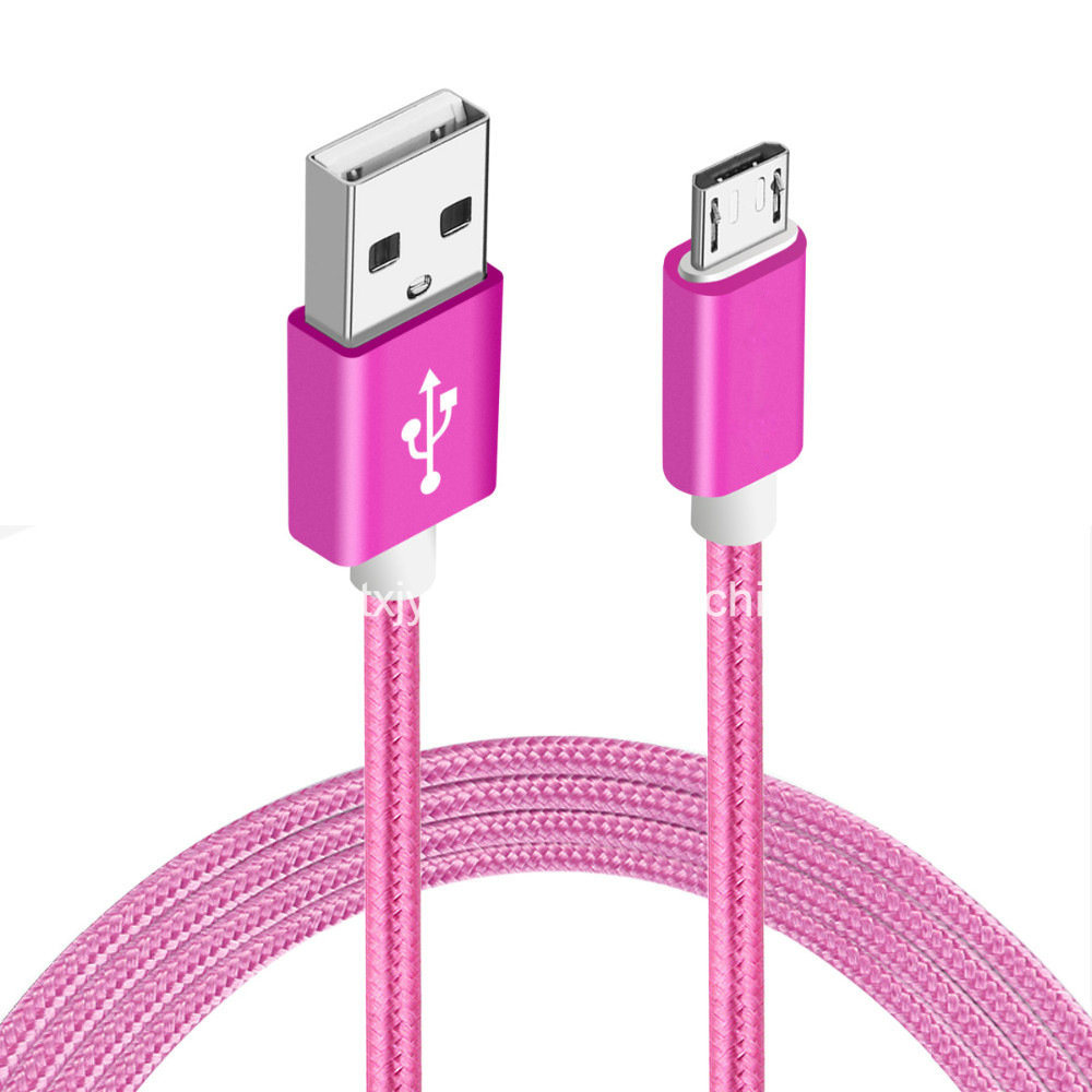 Mobile Accessories 5V 2A Nylon USB Charging Micro USB Data Cable for Android