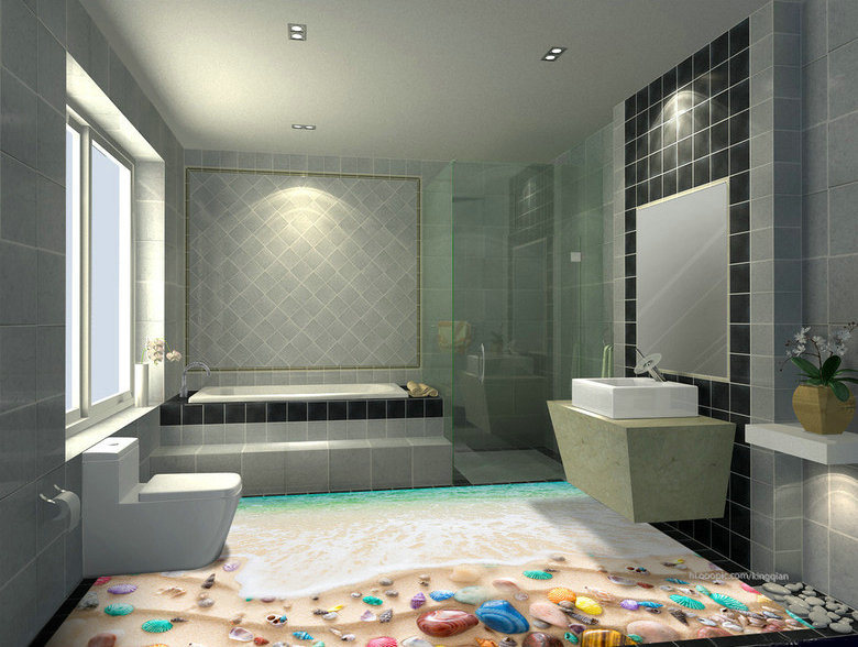 3D Design for Hotel Floor Tiles Bathroom Tiles