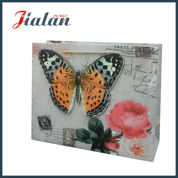 3D Glitter Butterfly Nylon Rope Customize UV Printed Paper Bag