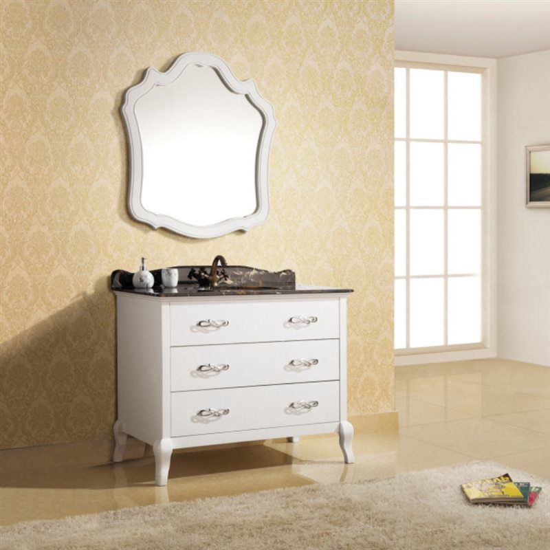 Pure White Oak Wood Hotel Bathroom Furniture Single Sink Vanity