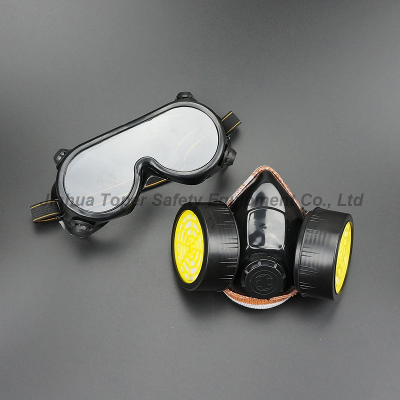 Double Cartridge Chemical Respirator Indirect Vents Safety Goggle Group Set (CR308)